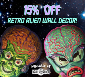 Retro 50's Alien and Mars Attacks wall art