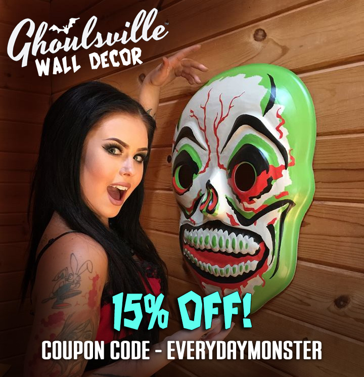 Ghouleena and a skull mask wall decor