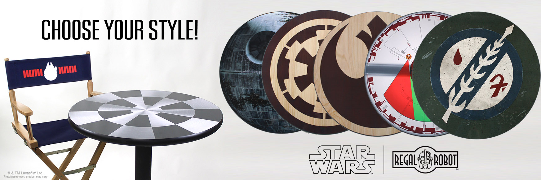 pub, bar and cafe tables with Star Wars graphics