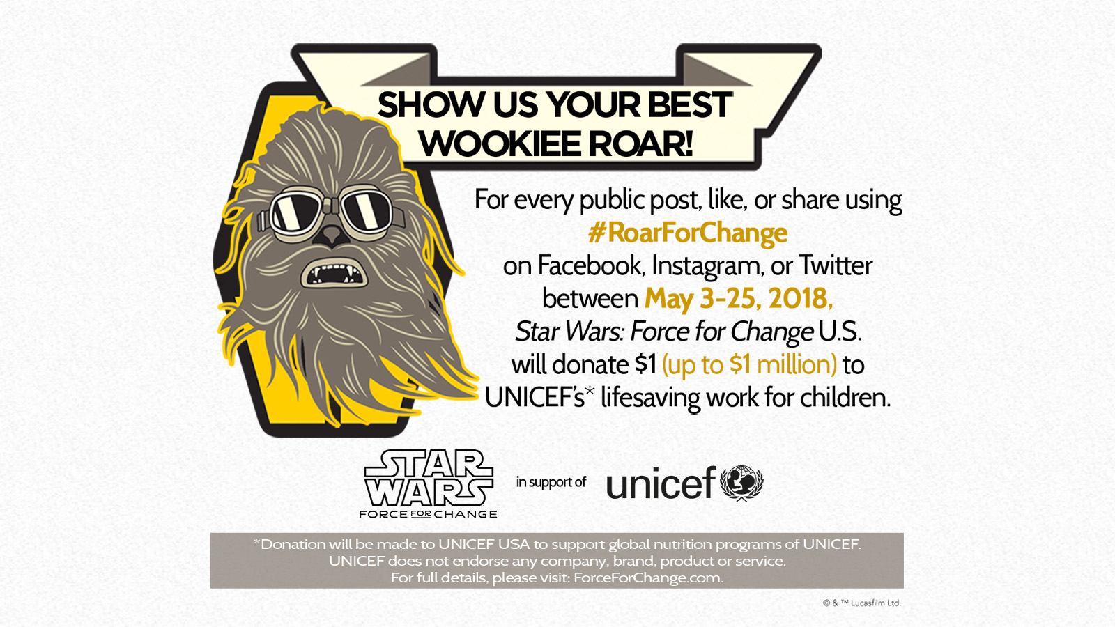Chewbacca's roar for change