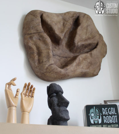 t-rex footprint wall art sculpture