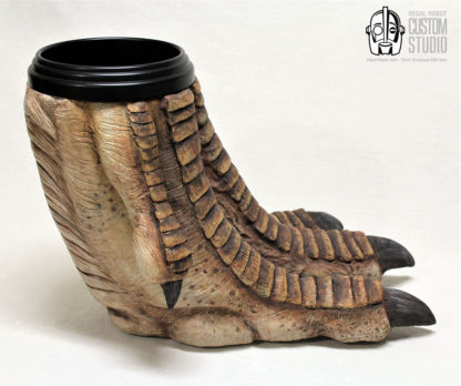 t-rex foot sculpture waste basket prop