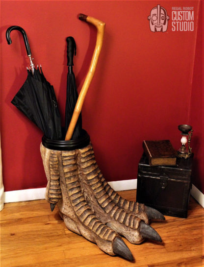 t-rex foot sculpture umbrella holder