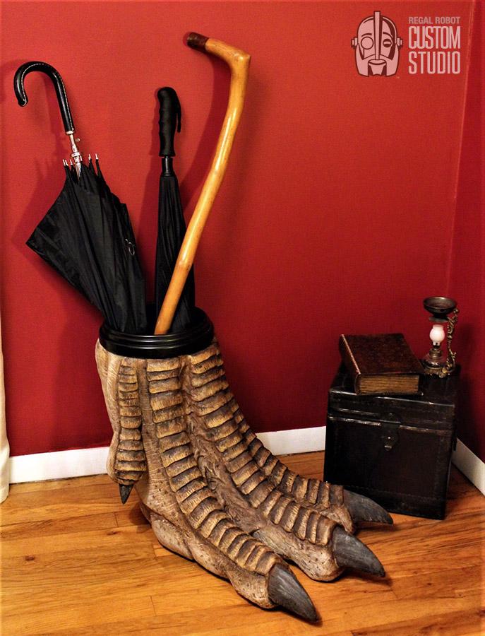 t-rex foot sculpture umbrella holder