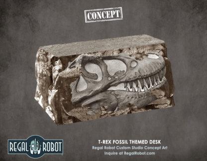 Tyrannosaurus rex fossil themed desk