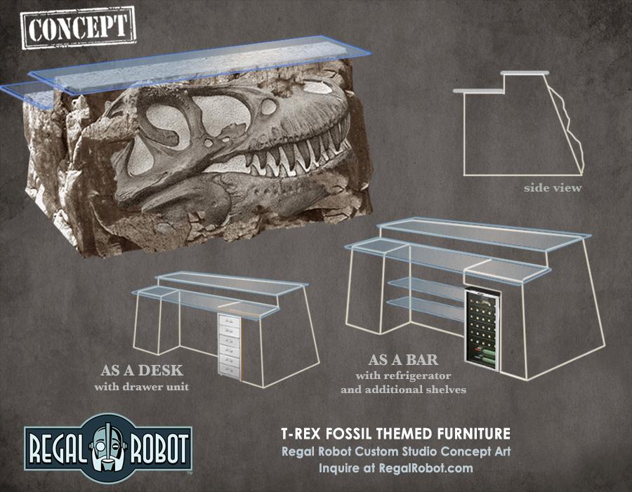 t-rex dinosaur themed furniture