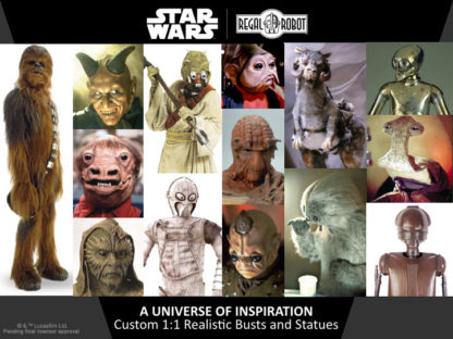 Star Wars alien and droids statues and replicas
