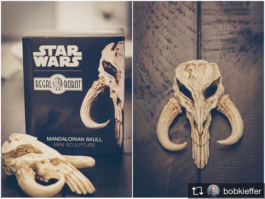 Boba Fett skull symbol sculpture