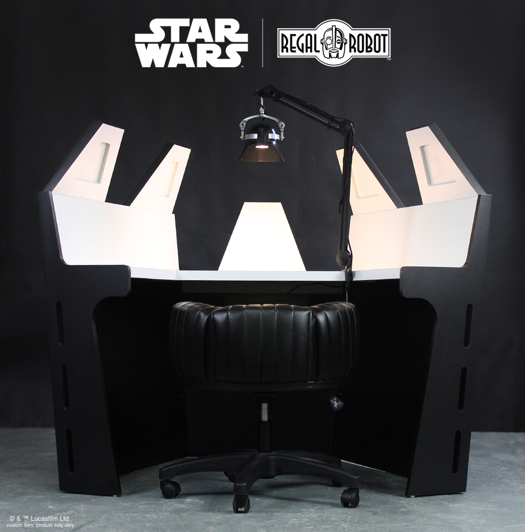 Darth Vader's meditation chamber as a desk with helmet as a lamp