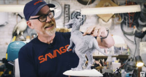 Adam Savage with Phil Tippett signature edition Tauntaun sculpture