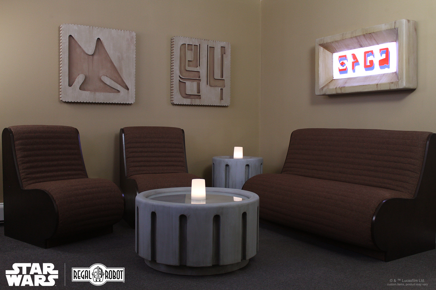 Regal Robot's cantina prop style sofa, chairs and decor