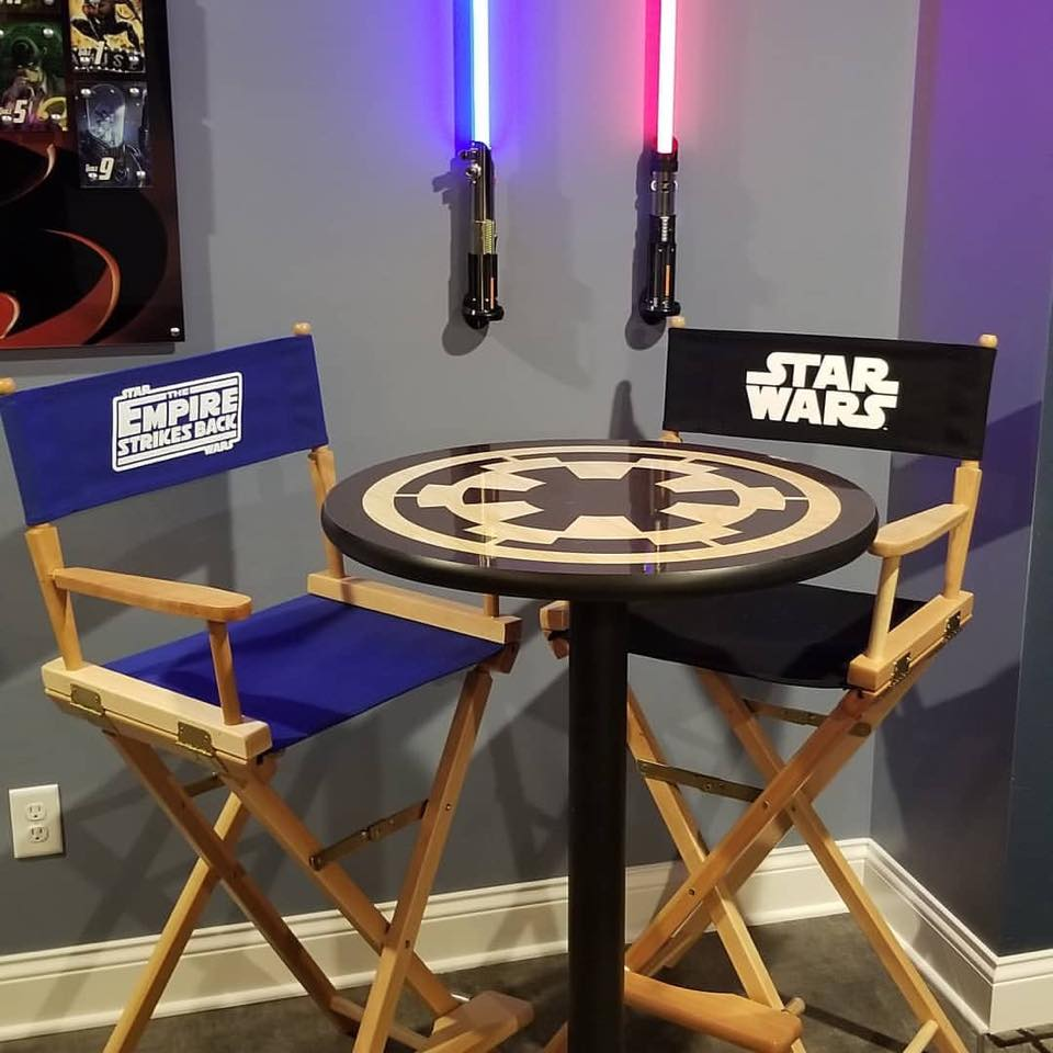 Imperial Insignia Crest of the Empire Table with Star Wars and Empire Director's Chairs
