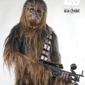 life-sized statue to look like chewbacca actor in costume