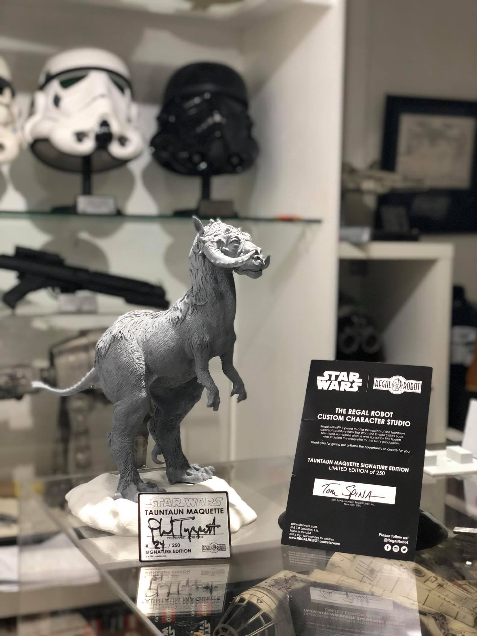 Star Wars Tauntaun statue with autograph