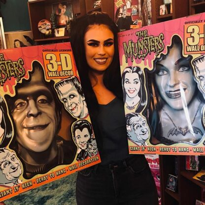 Lily Munster and Herman Munster retro wall decor