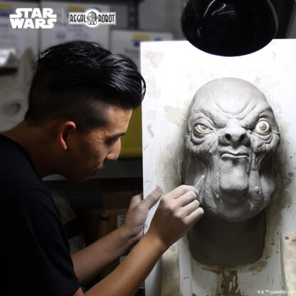 sculpting Jabba's Palace alien bust from Return of the Jedi