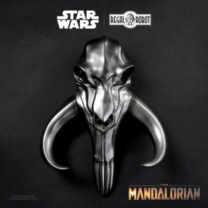 metal beskar mythosaur skull from The Mandalorian as wall decor