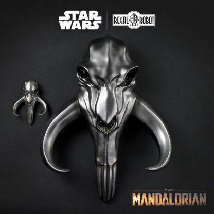 metal beskar mythosaur skull from The Mandalorian as wall decor