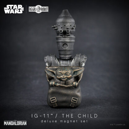 baby yoda and Ig-11 (not IG-88) from the Mandalorian