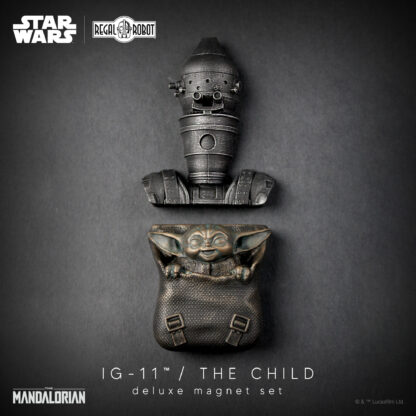baby yoda and Ig-11 (not IG-88) droid from the Mandalorian
