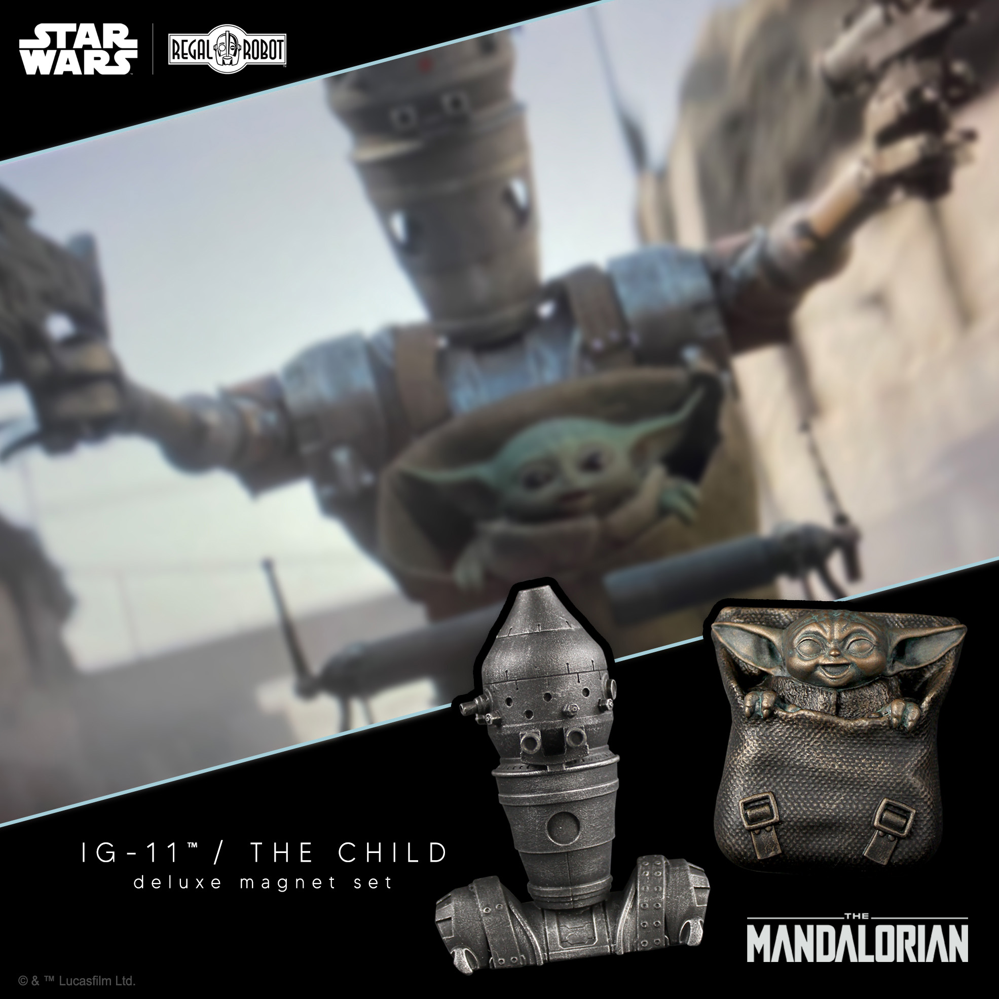 The Mandalorian IG-11 & Baby Yoda aka the Child magnets from Regal Robot