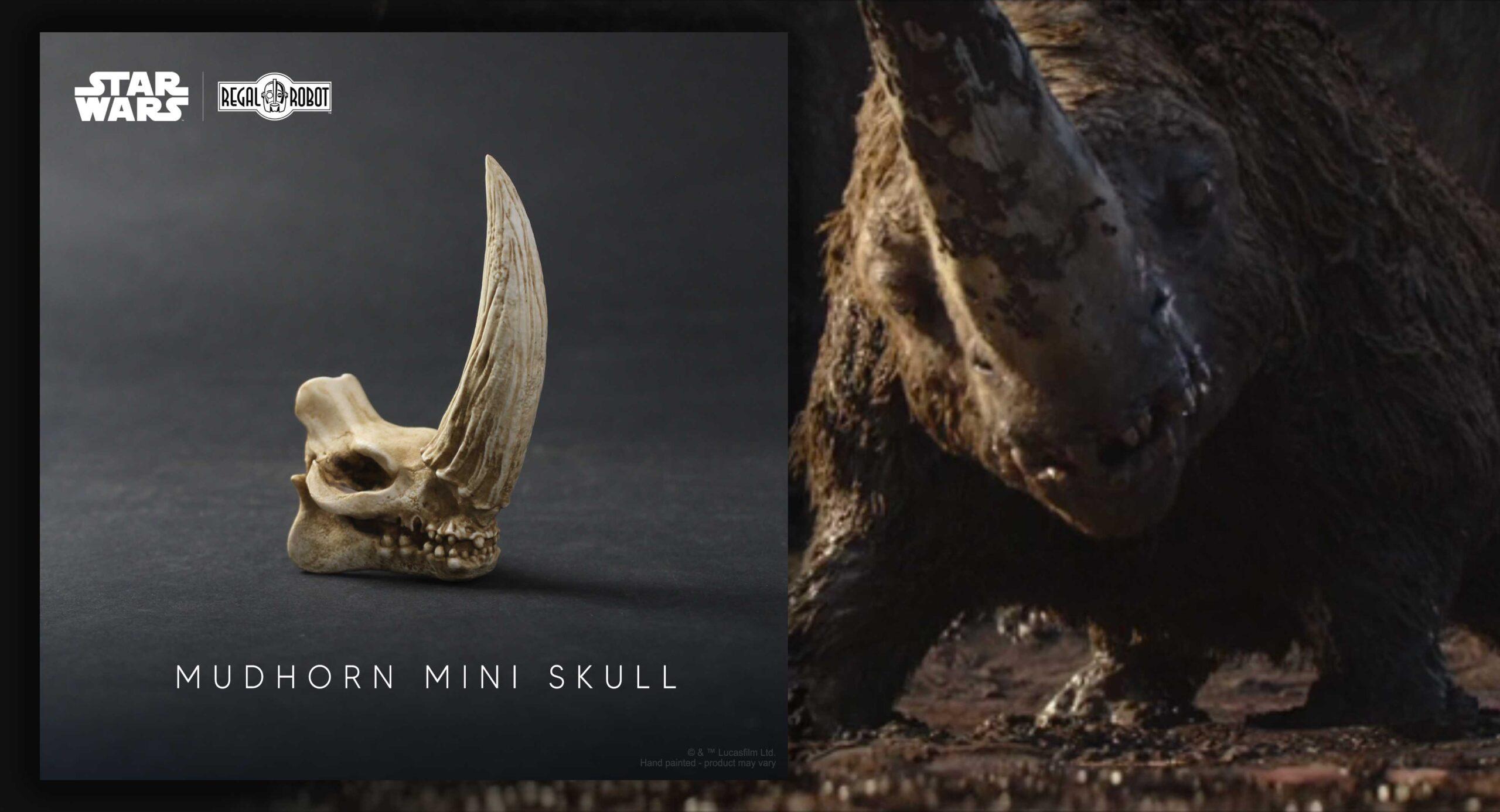 the Mandalorian mudhorn signet skull sculpture