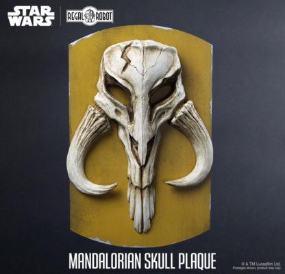 mandalorian skull relief sculpture wall plaque