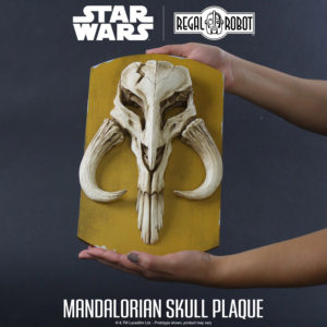 mandalorian skull relief sculpture wall plaque