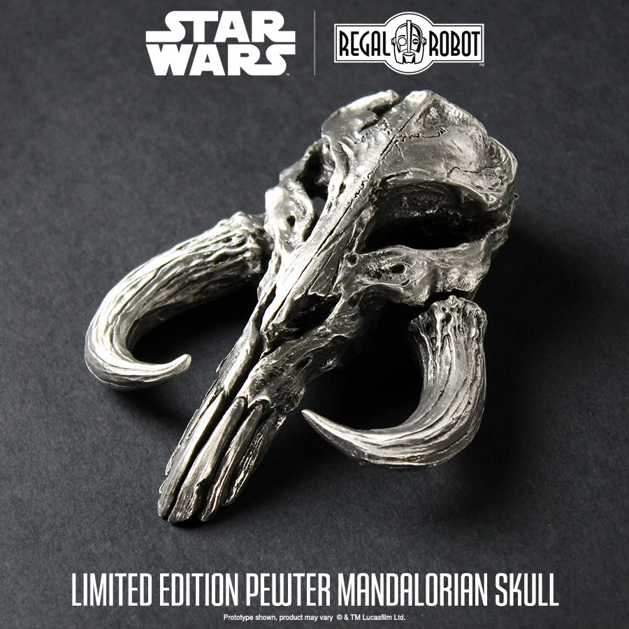 fbd6d958c LIMITED EDITION Pewter Mandalorian Skull Mini Sculpture – Regal Robot