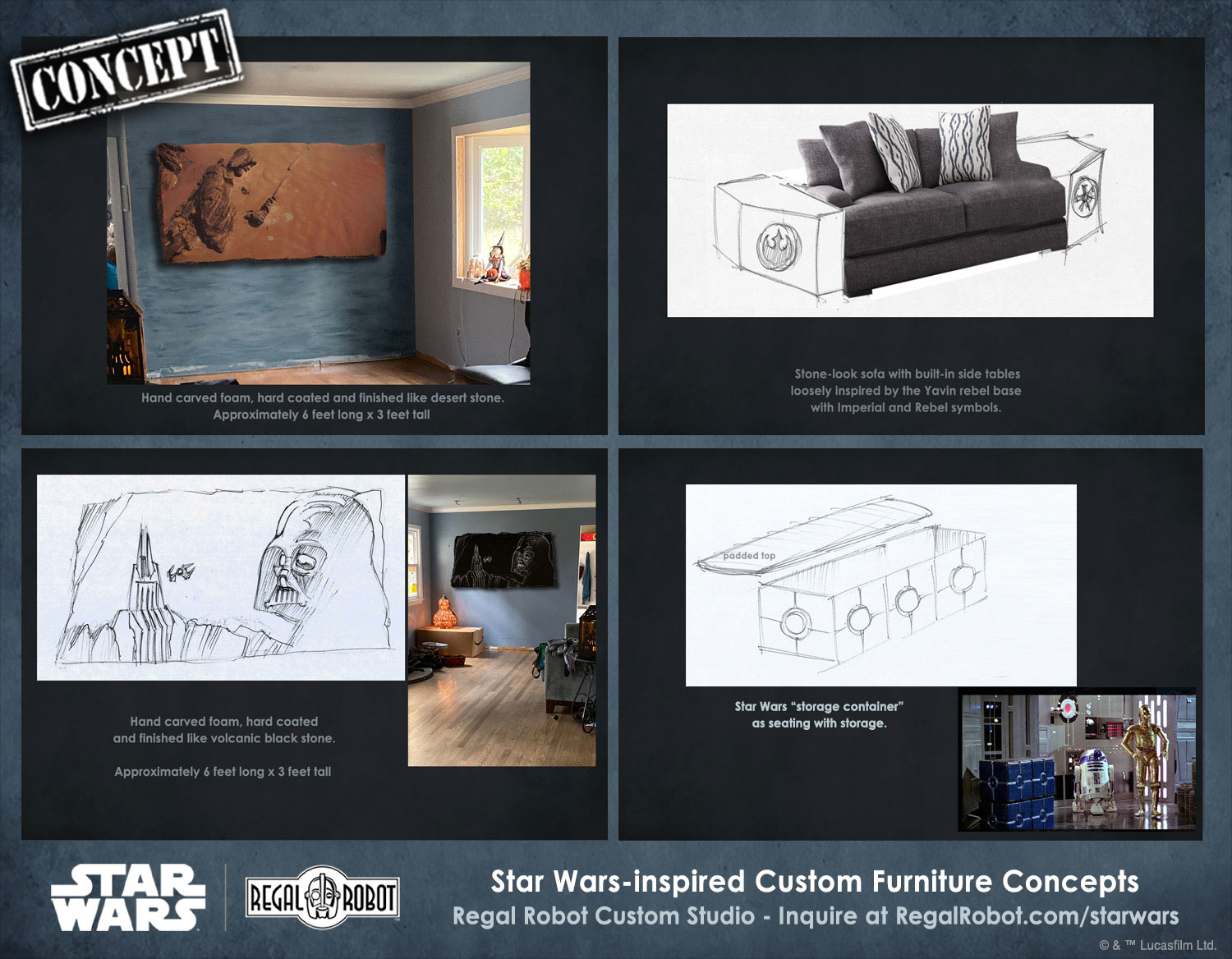 concept art for Star Wars Rogue One style furniture